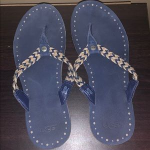 Never worn. Ugg sandals blue and cream flip flops
